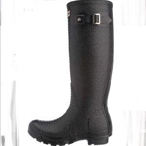 Hunter Carnaby Boa Snake Tall Boots Black Sz 8